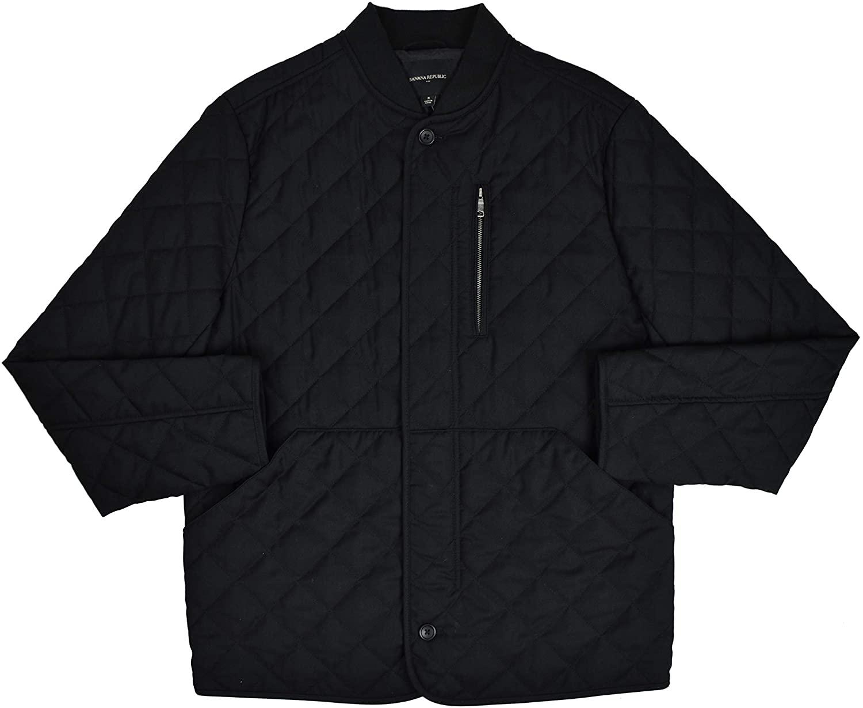 BANANA REPUBLIC Mens Diamond Quilted Full Zip Field Jacket Black