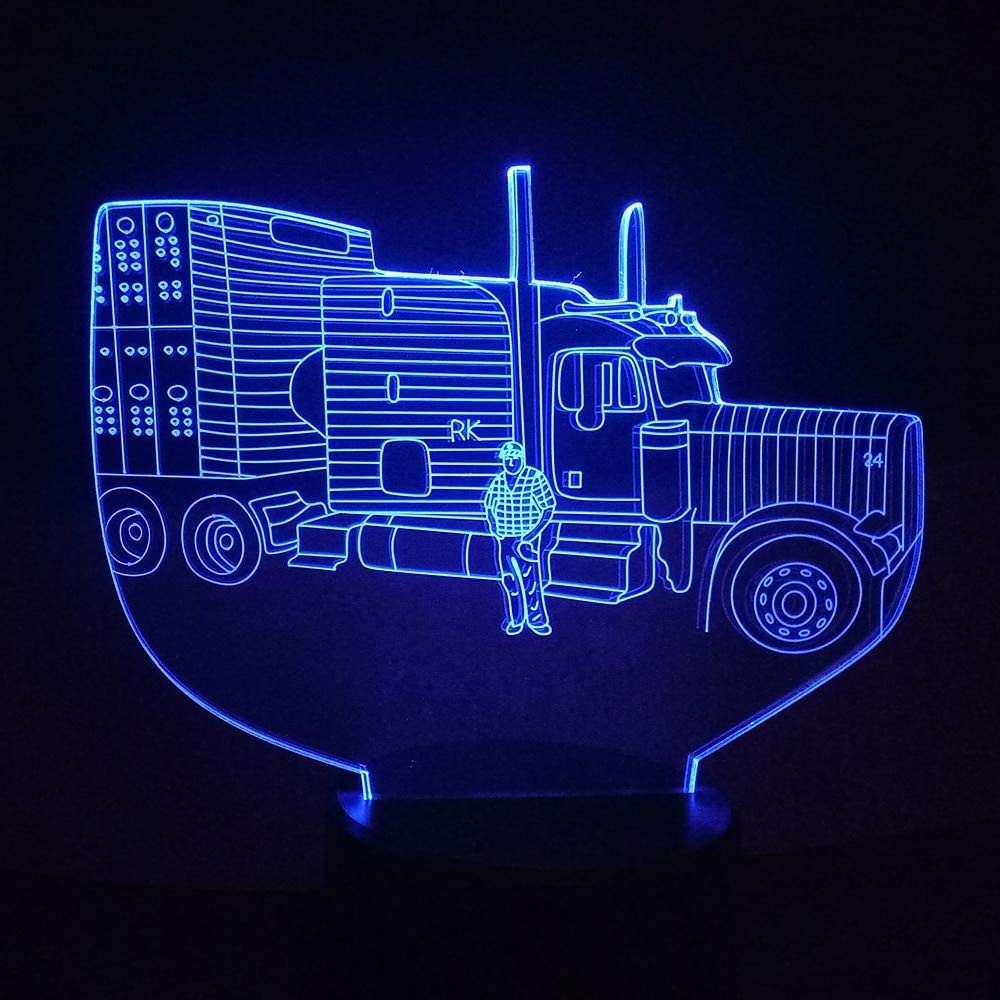 WisdomMi Childrens Lights Car 3D Illusion LED Tractor Night Light USB/AA Battery Power Supply Table Lamp Colorful Mood Lighting Kids Birthday Part Decor Touch Switch 7 Colors
