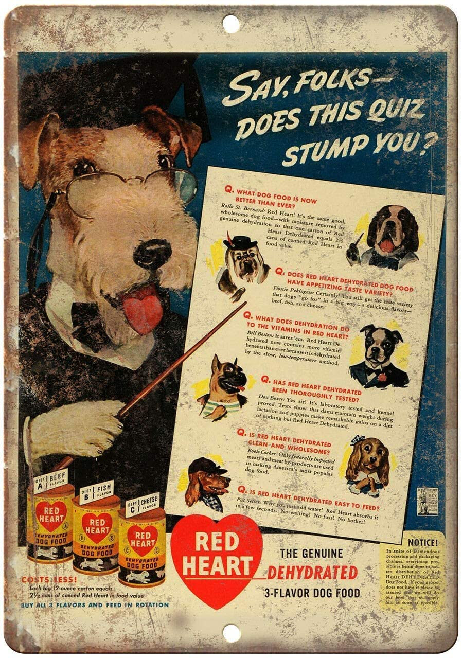 Bit TINBG Red Heart Dog Food Schnauzer Ad Retro Metal Aluminum Tin Sign Plaque Poster Nostalgic Art Wall Decor Signs 8x12 Inch