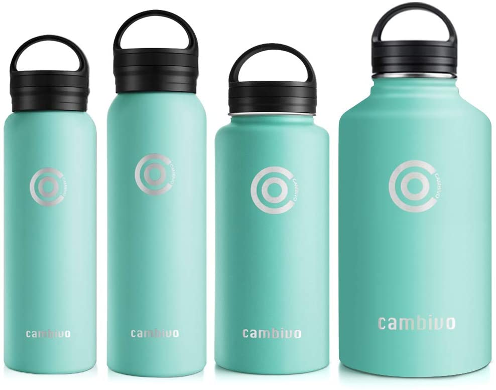 CAMBIVO Water Bottle, Double Vacuum Insulated Stainless Steel Thermos for Kids, Sports, Hiking, Home Gym, Driving, Travel with Two BPA Free Cap (20 oz, Seafoam)