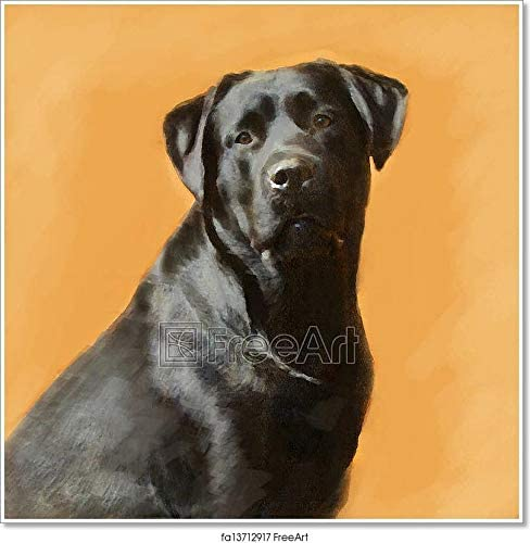 Oil Painting Portrait of Black Labrador Male Paper Print Wall Art (60in. x 60in.)