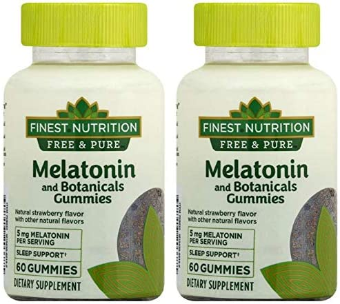 Melatonin + Botanicals Gummies Strawberry60ea, 2 pk Finest Nutrition Free & Pure