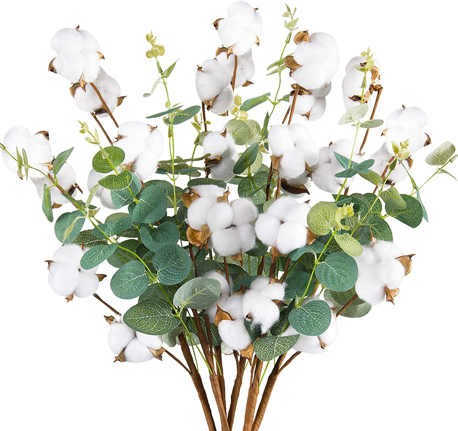 """Miracliy 6 PCS Cotton Stems Decor with Eucalyptus Leaves 4 Cotton Heads for Farmhouse Style Floral Decorations 20"""""""