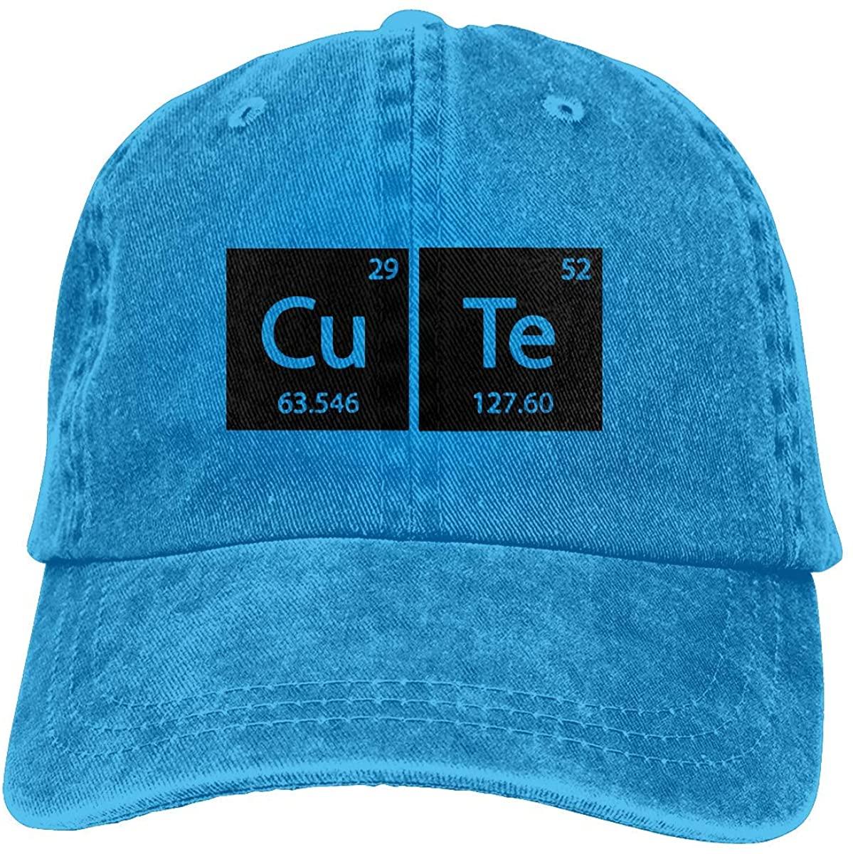 Women's Men's Adjustable Baseball Cap, Cute Chemistry Periodic Table Elements Denim Snapback Hip Hop Hats