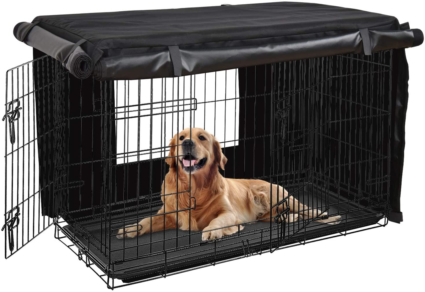 HONEST OUTFITTERS Dog Crate Cover,30 Inch Dog Kennel Cover for Medium and Large Dog, Heavy Duty Oxford Fabric,with Double Door, Pockets and Mesh Window (31L x 20W x 21H, Black)