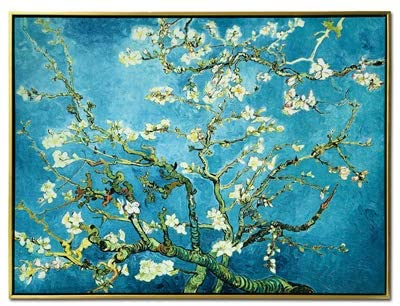 Wieco Art Framed Art Giclee Canvas Prints of Almond Blossom by Vincent Van Gogh Paintings Reproduction Abstract Artwork for Wall Decor Golden Frame P1XH-3040-GF