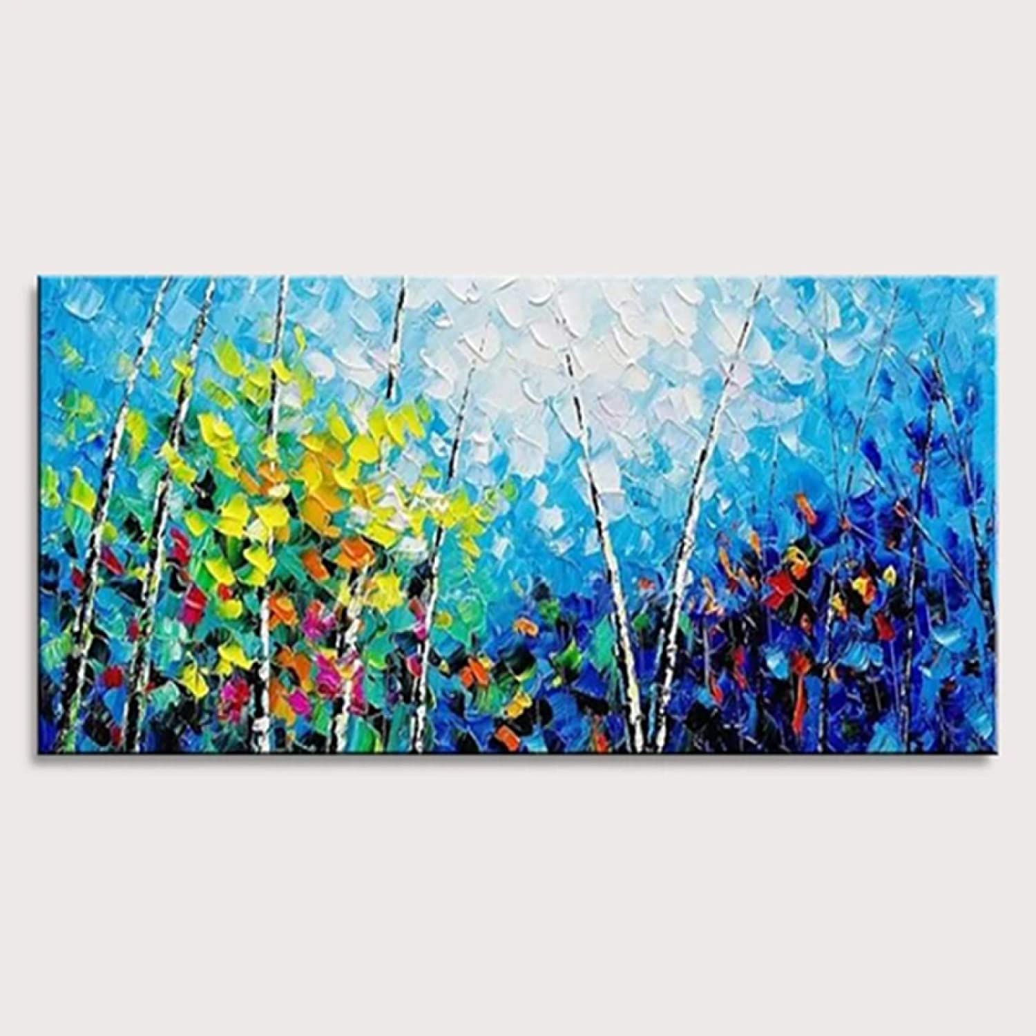 GXRGXR Hand Painted Oil Painting,Modern Art Canvas Prints Wall 100% Hand Painted Landscape Oil Paintings Abstract Forest Wall Art Picture for Living Room Bedroom Decorations,140×280Cm