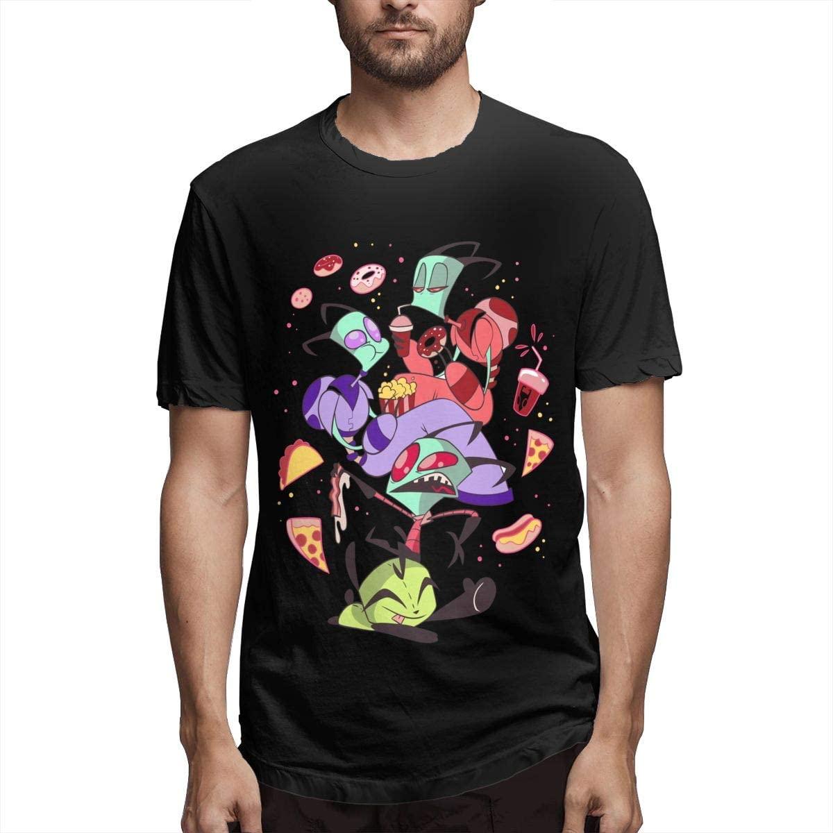 Invader Zim Men's Cotton T Shirt Fashion Round Neck Short Sleeve Black