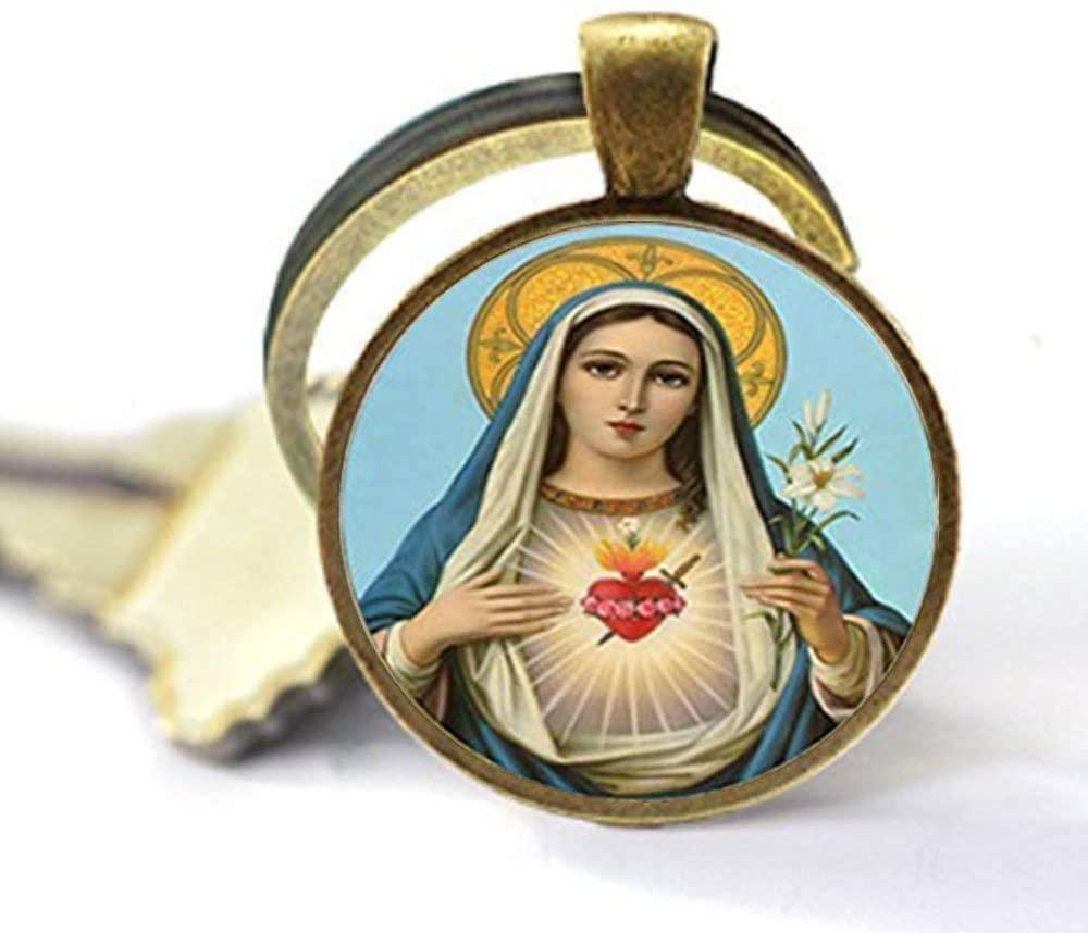 Beautiful Virgin Mary Charm Glass Keychain Virgin Mary Jewelry Art Nouveau Beautiful Gifts