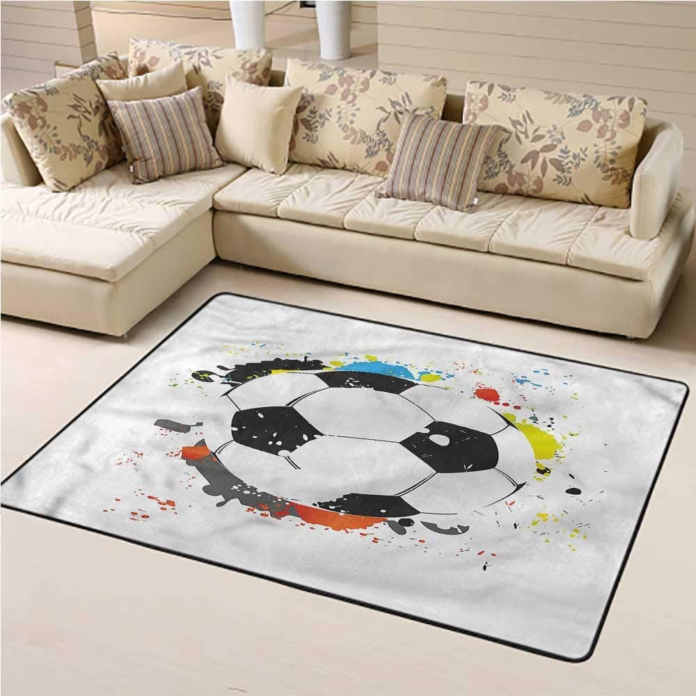 Printed Area Rug Boys Room Easy to Clean and Remove Dust Grunge Soccer Ball 5' x 7' Rectangle