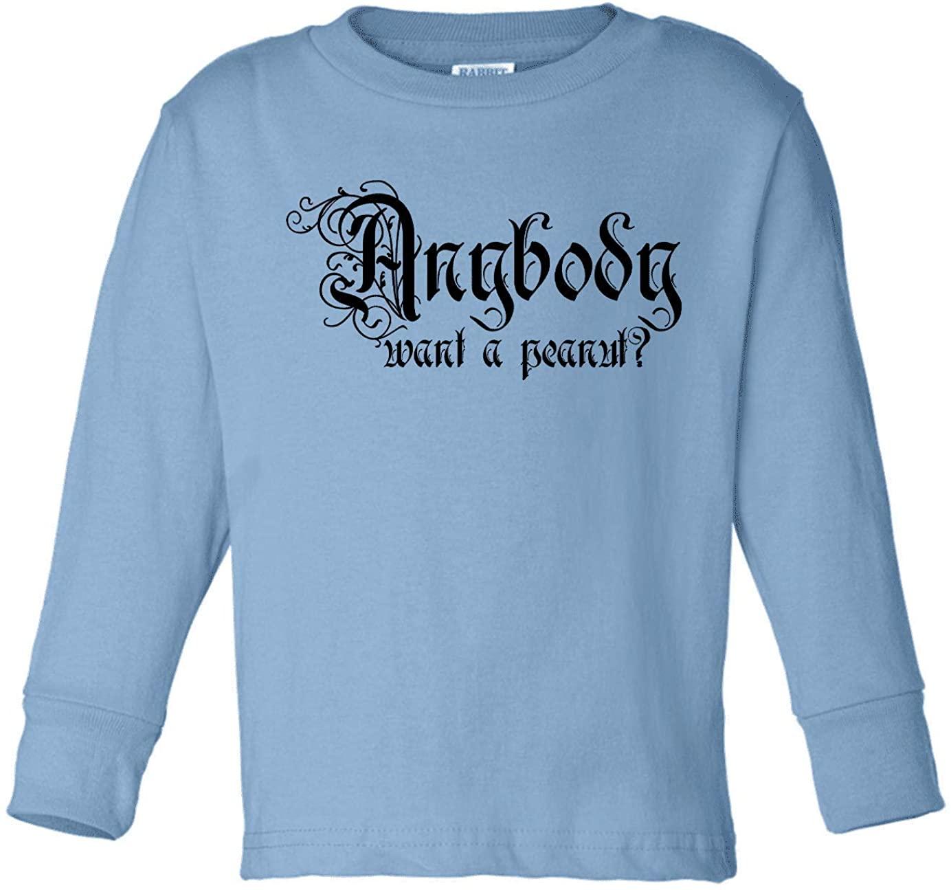 HARD EDGE DESIGN Toddler's Anybody Want a Peanut Long Sleeve T-Shirt, 4T, Light Blue