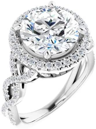 14K White Gold 1.37 Carat Round Moissanite Infinity-Inspired Halo-Style Engagement Ring