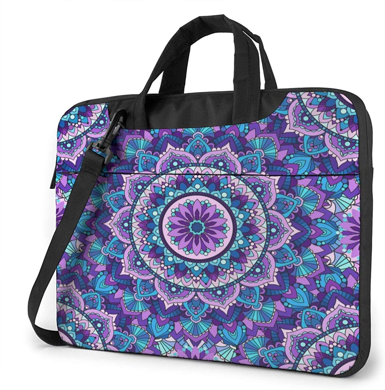 Indian Mandala Pattern Laptop Shoulder Messenger Bag,Laptop Shoulder Bag Carrying Case with Handle Laptop Case Laptop Briefcase 15.6 Inch Fits 14 15 15.6 inch Netbook/Laptop