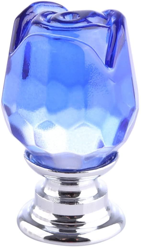 Crystal Rose Knobs, BBDI Transparent Crystal Rose Shape Door Knob Furniture Handle Cupboard Kitchen Pull Handle - Blue