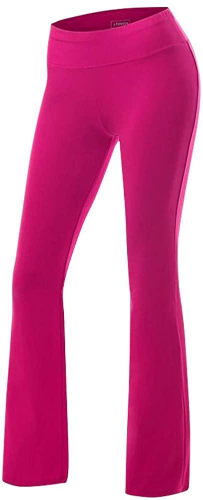 Women's Yoga Pants Tummy Control Workout Running 4 Way Stretch Boot Leg Yoga Pants,1065,Rose,US L(Tag XL)