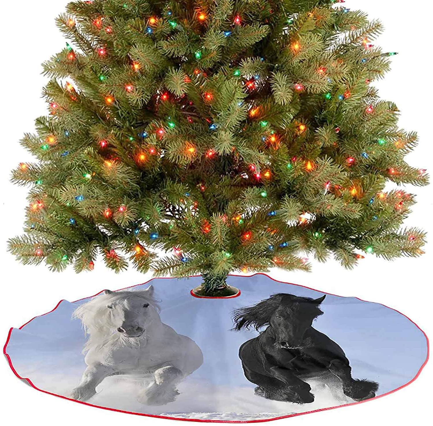 Adorise Tree Skirt Decor Competing Racing Black and White Horses on The Snow Good and Evil Traditional Christmas Tree Mat for Holiday Party - 48 Inch