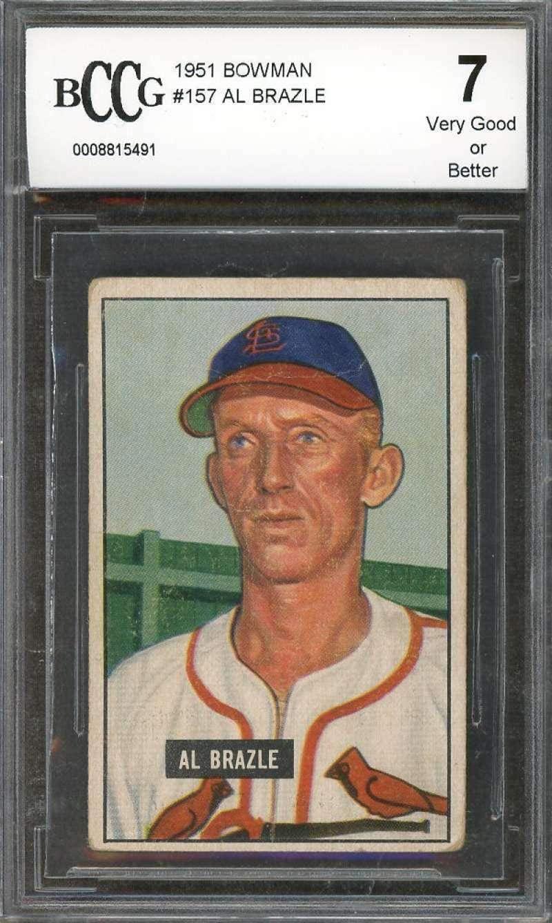 Al Brazle Card 1951#157 St Louis Cardinals (Vg Or Better) BGS BCCG 7 - Baseball Slabbed Rookie Cards