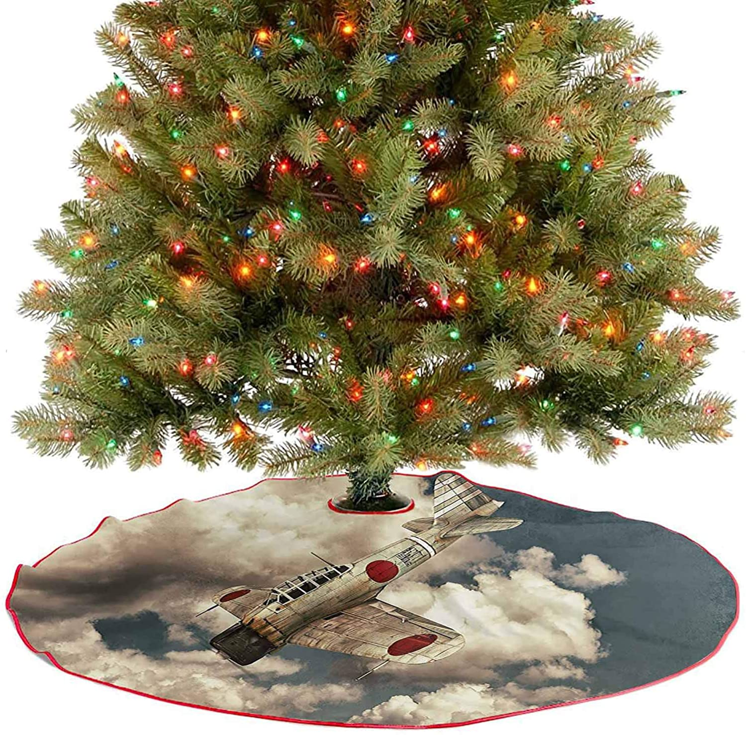 Rustic Xmas Tree Skirt Akutan Zero War Plane Flying Between Clouds Old Military Plane Model Aviation Paint Xmas Decoration Holiday Ornaments for Xmas Holiday Party Decoration - 48 Inch
