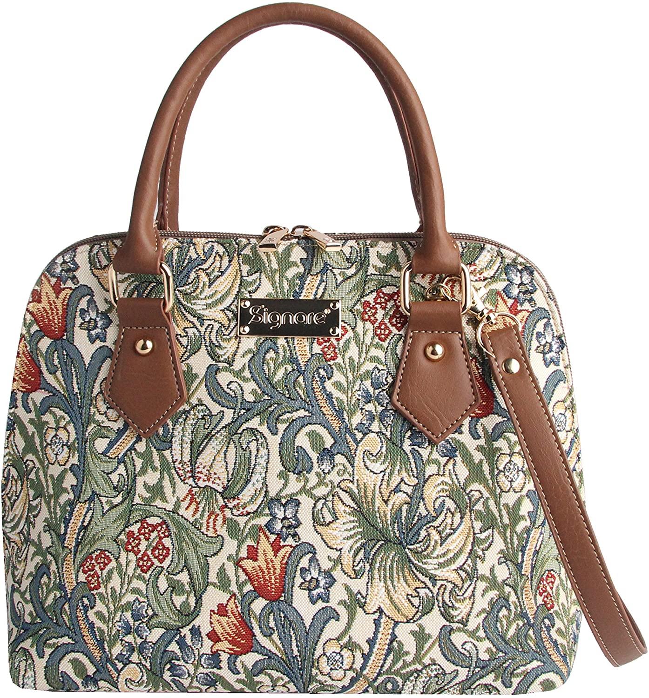Signare Tapestry Handbag Satchel Bag Shoulder bag and Crossbody Bag and Purse for women with William Morris Golden Lily Design (CONV-GLILY)