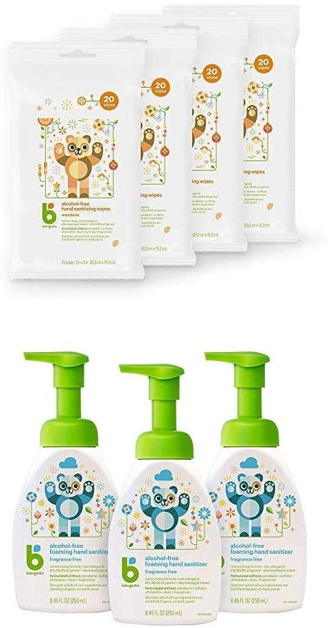 Babyganics Alcohol-Free Hand Sanitizer Wipes, Mandariny with Babyganics Alcohol-Free Foaming Hand Sanitizer, Pump Bottle, Fragrance Free