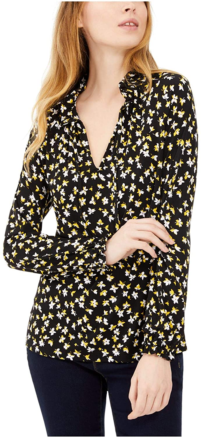 Michael Kors Womens Green Floral Long Sleeve V Neck Blouse Wear to Work Top Size S