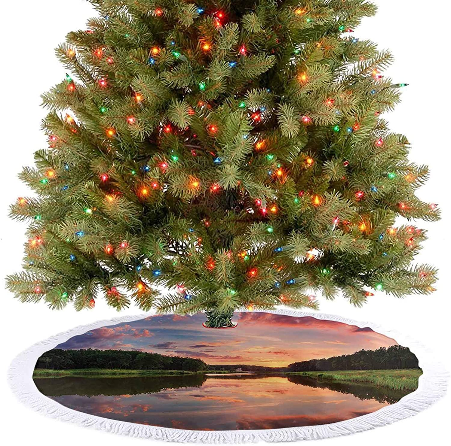 Tree Skirt Scenic Picture with Reflection and Sunset Landscape Picture Accessories Blue Green O Christmas Holiday Party Decoration, Beautiful Standout Addition - 48 Inch