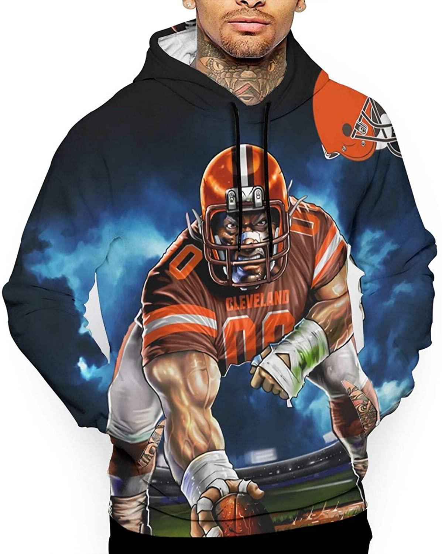 ALHOKLAus Football Cleveland Brown Men's Hoodie Sweatshirt, 3D Hoodie Pullover Sweatshirt Hooded with Pocket Clothes