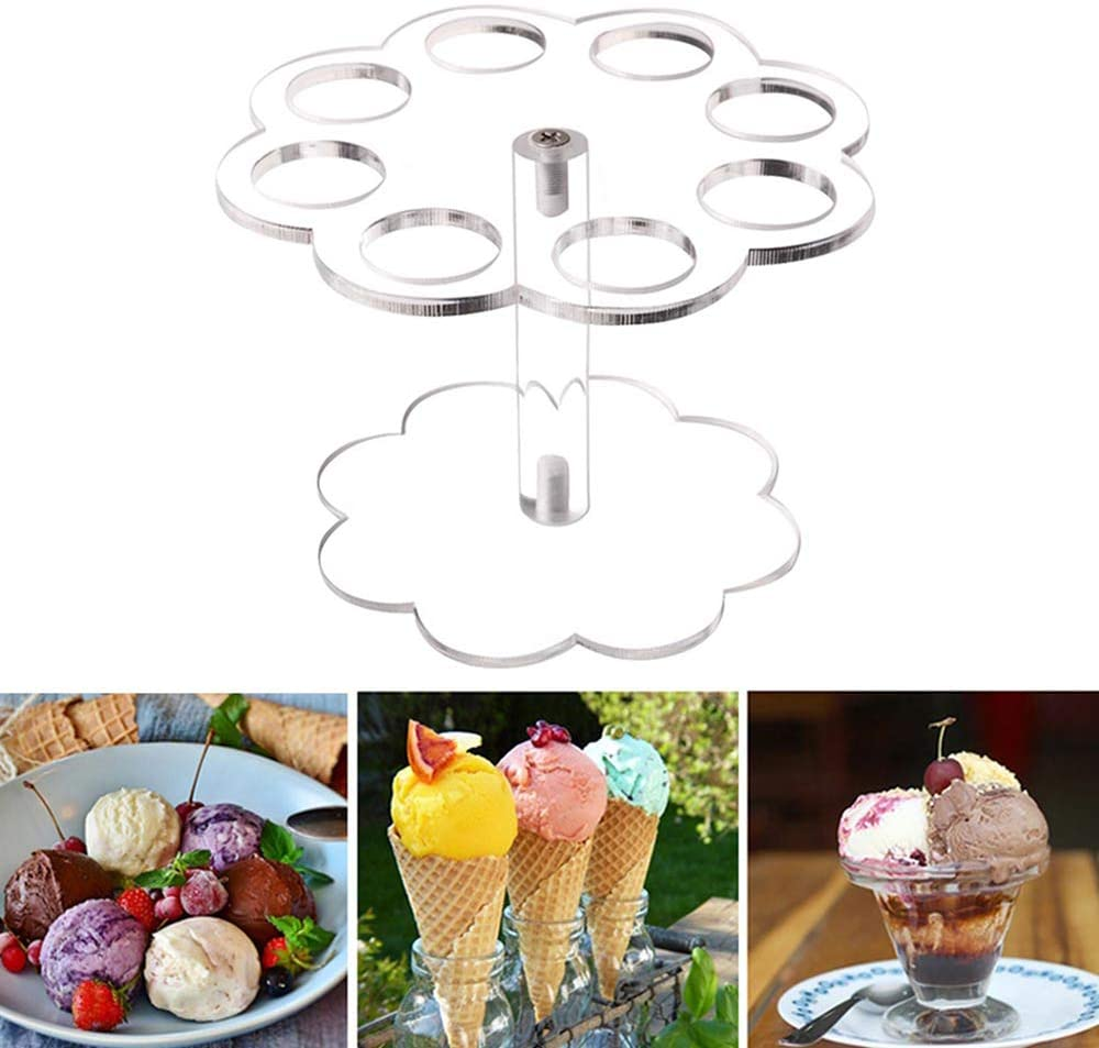 LSS Acrylic Ice Cream Cone Holder Stand, 8 Holes Detachable Practical Transparent Display Home Party Kitchen Sushi Hand roll Stand Wedding Display