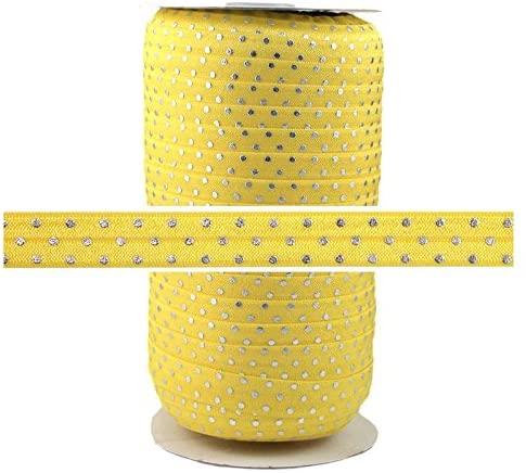 100 Yards - Yellow Silver Dots 5/8 Fold Over Elastic - ElasticByTheYard