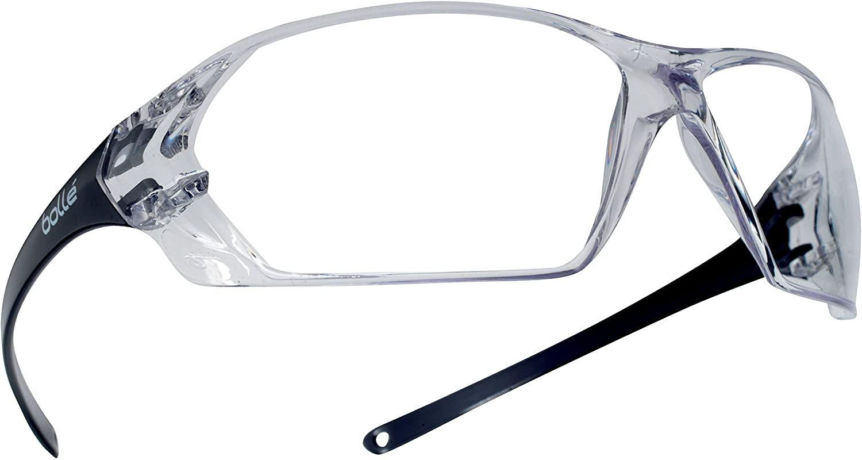 Bollé Safety 253-PR-40057 Prism Safety Eyewear with Shiny Black Rimless Frame and Clear Anti-Scratch/Anti-Fog Lens