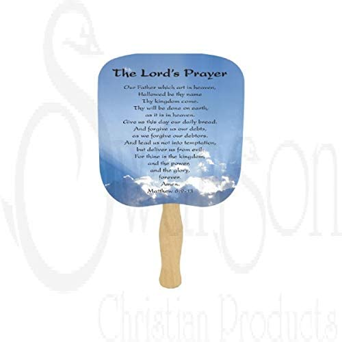 Swanson Christian Parlor and Church Hand Fan - Traditional Style - The Lord's Prayer (Package of 5)