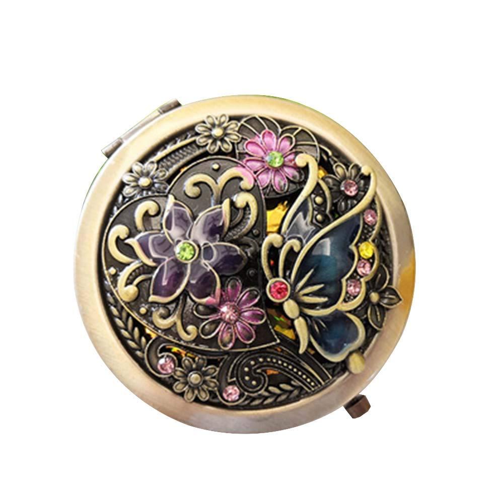 Vintage Round Pocket Mirror Compact Handbag Mirror Mini Purse Makeup Mirror, A-8