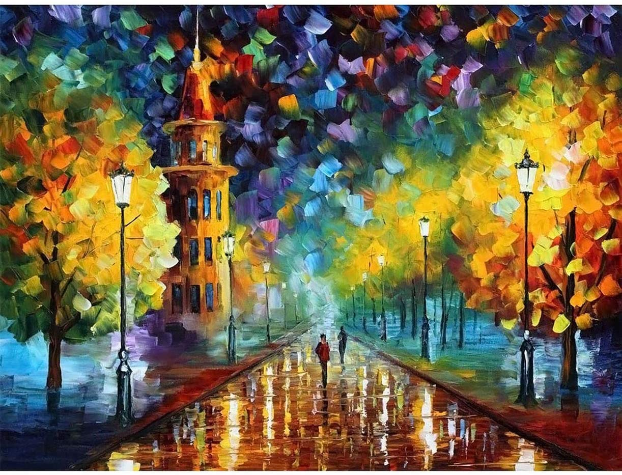 Darmeng DIY 5D Diamond Painting Landscape Tree, Full Drill Kits Round Drill Paint with Diamonds Art Diamond by Number Kits Craft Canvas for Home Wall Decor 12x16 inch (D1-588)