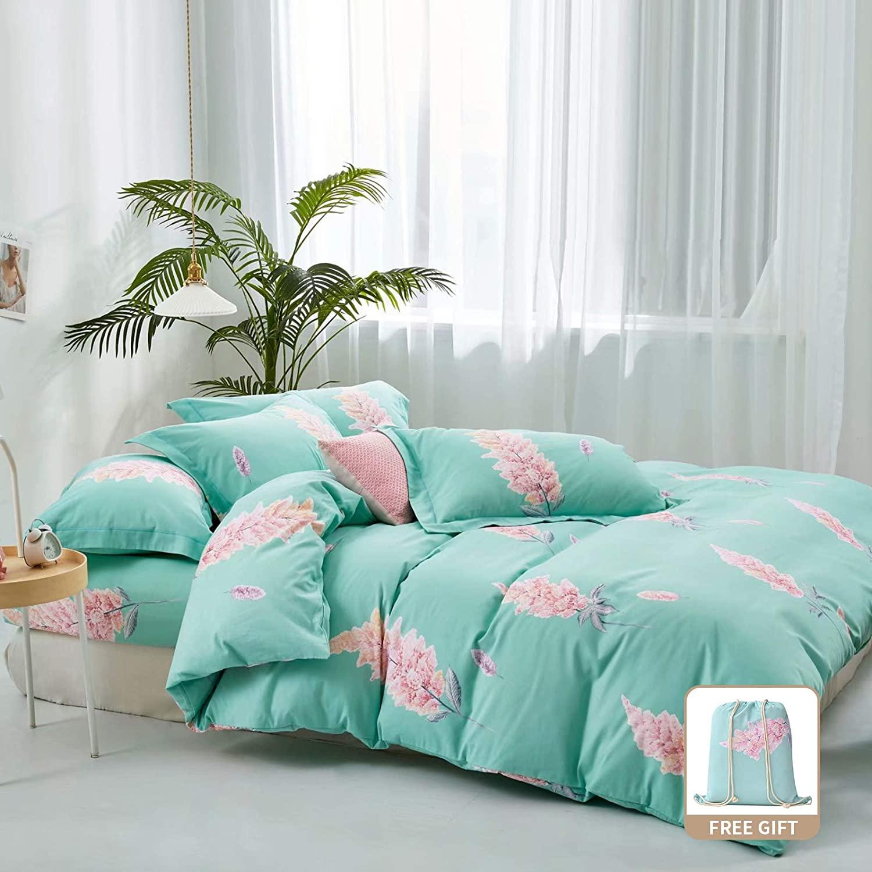 Y-PLWOMEN Duvet Cover Bed Sheet - 1000 Thread Count Luxury Cotton Long-Staple Combed Natural, Bloom Blue Soft, Duvet Cover, Pillow Case3-Pieces Queen Set