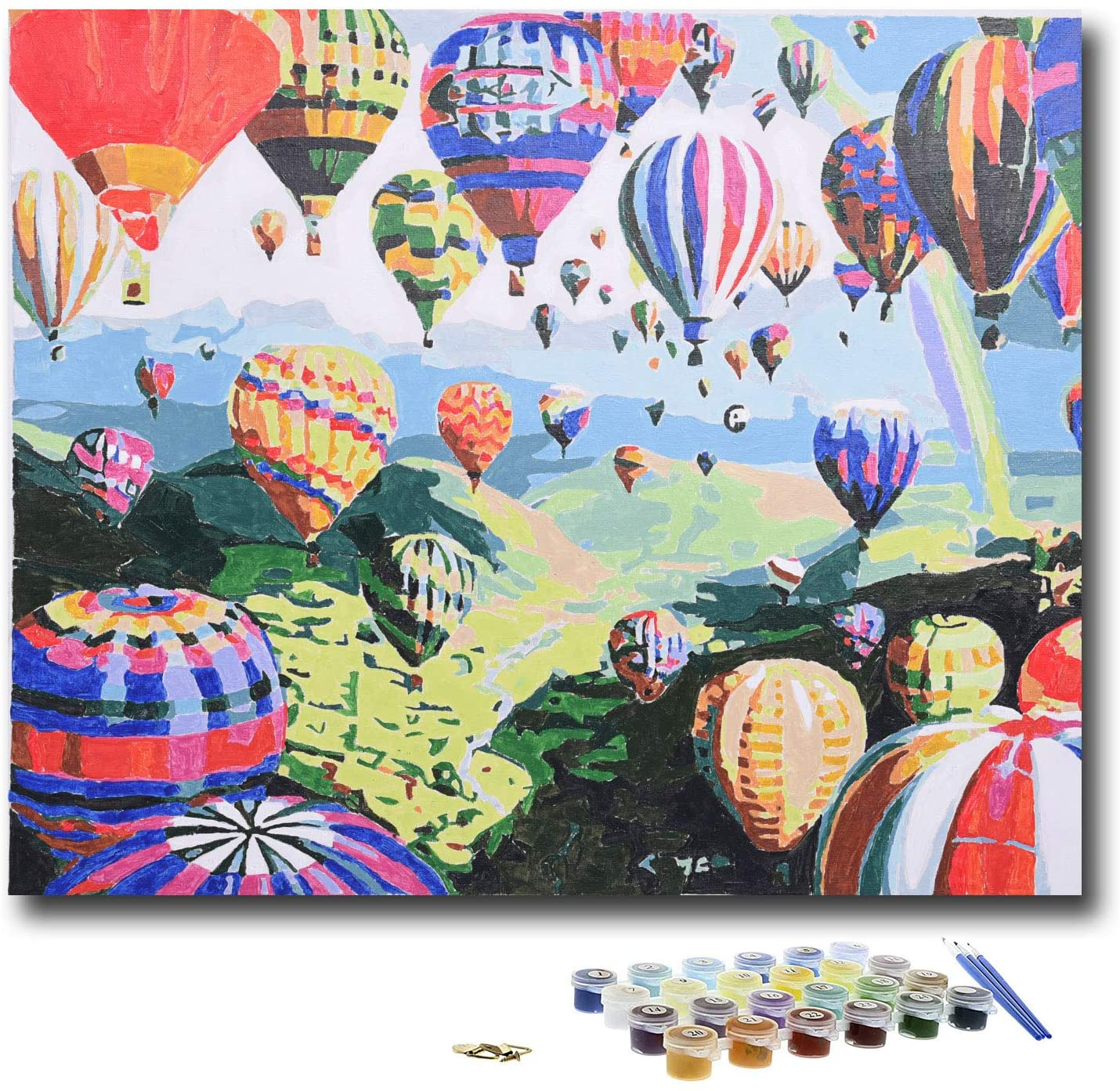 KLIERWOY Paint by Numbers for Adults - DIY Oil Paint Beginner Kit Art Canvas Set 16x20 inch (Without Frame) Hot Air Balloon