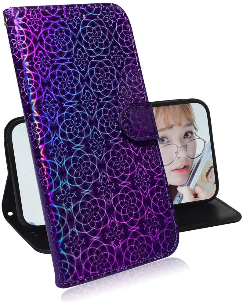 Asdsinfor Galaxy A50 Glitter Case Luxury Shining Sequin Wallet Case Credit Cards Slot with Stand for PU Leather Shockproof Flip Magnetic Case for Samsung Galaxy A50 / A30S / A50S Purple TXXC