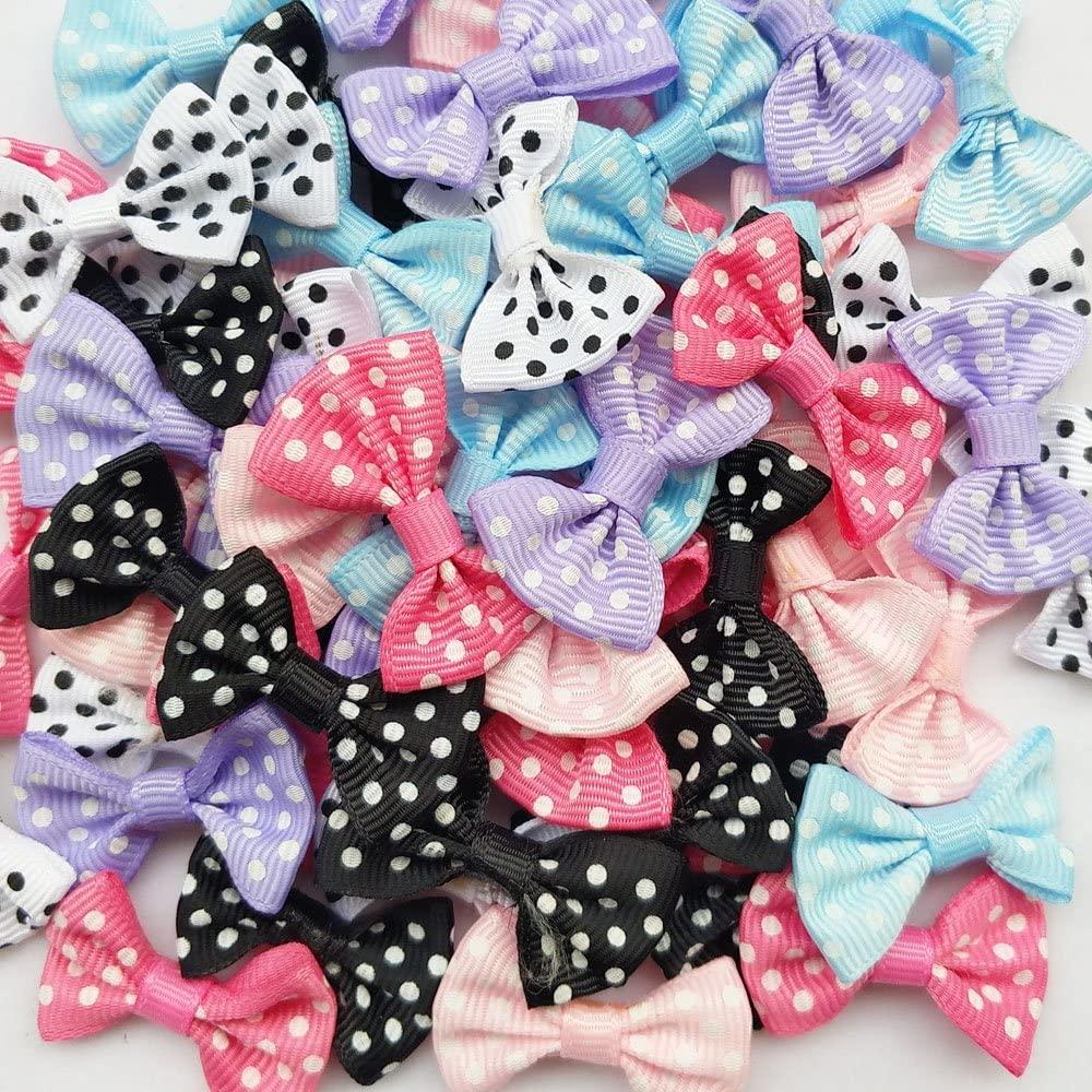 Chenkou Craft Mix Lots 60pcs Grosgrain Ribbon Bow Flower Appliques Crafts Wedding (Dot Ribbon Bow(A0085))