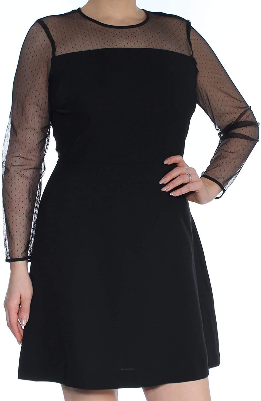 Maison Jules Womens Long Sleeves Cocktail Mini Dress Black L