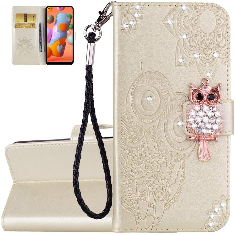 Asdsinfor Galaxy S9 Plus Glitter Diamond Case,Advanced Embossing PU Leather Wallet Case,with Card Slot and Bracket Function,Shockproof Flip Magnetic Cover for Samsung Galaxy S9 Plus Golden YK