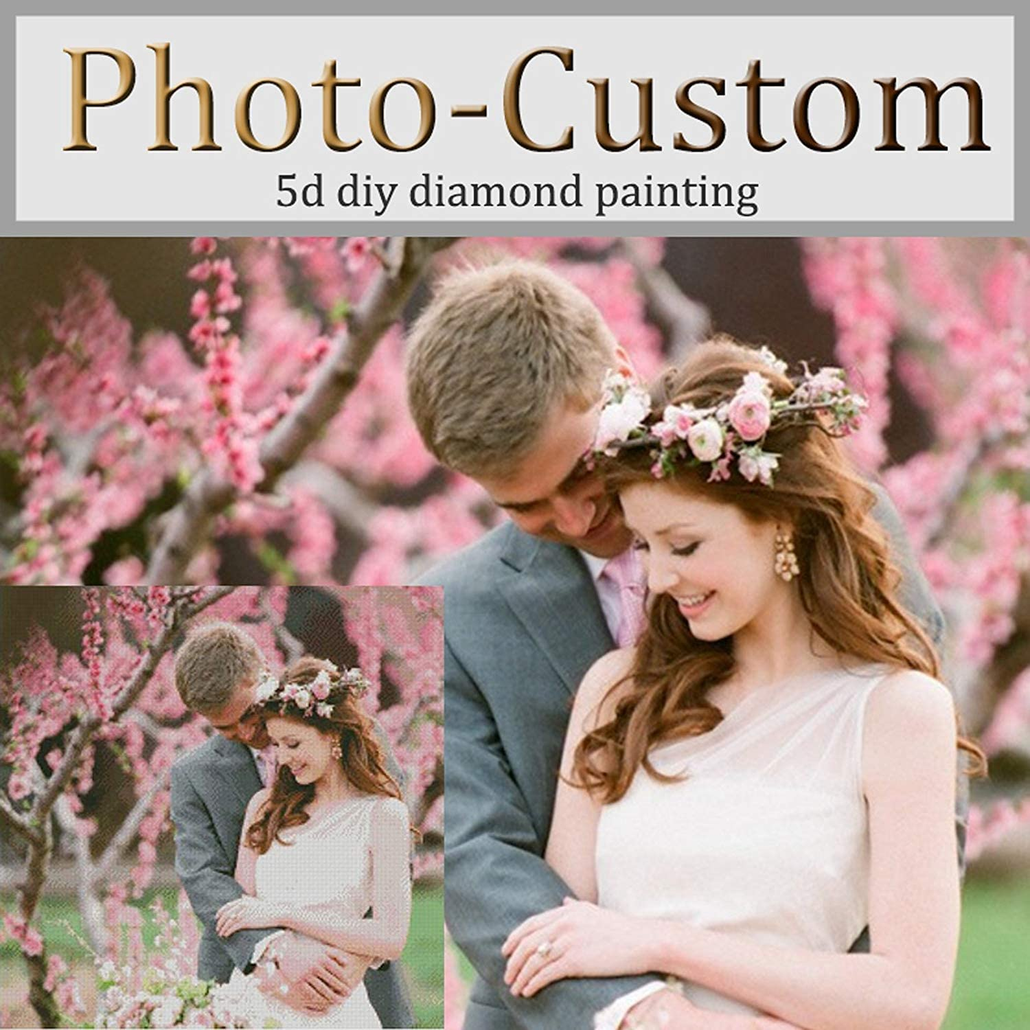 Custom 5D Diamond Painting by Number Kits, DIY Personalized Photo Customized, Make Your Own Full Diamond Rhinestone Embroidery,Round Drill (23.6x11.8inch/60X30CM)