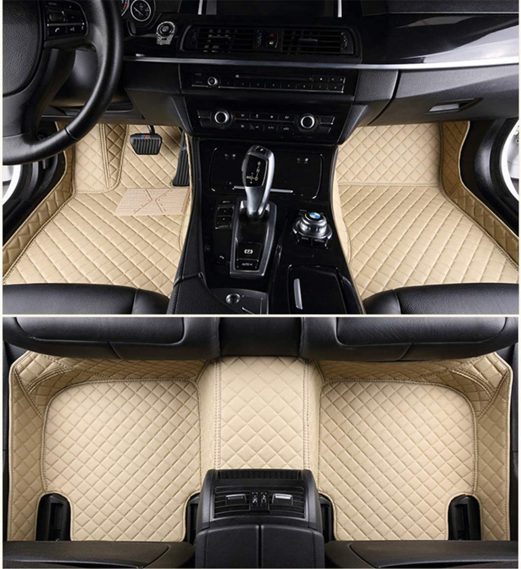 Jiahe for Volvo C30 2006-2013 Car Floor Mats Full Covered Advanced Performance Leather Carpet Auto All Weather Protection Front & Rear Liner Set Beige
