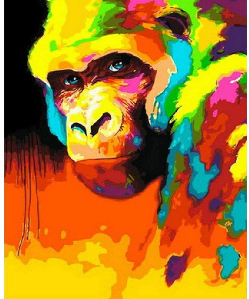 Animals DIY Diamond Painting Kits for Adults,eniref 5D Full Round Crystal Rhinestone Diamond Colorful Gorilla Paintging,11.8X15.7Inch Cross Stitch Art Pictures for Home Wall Decor