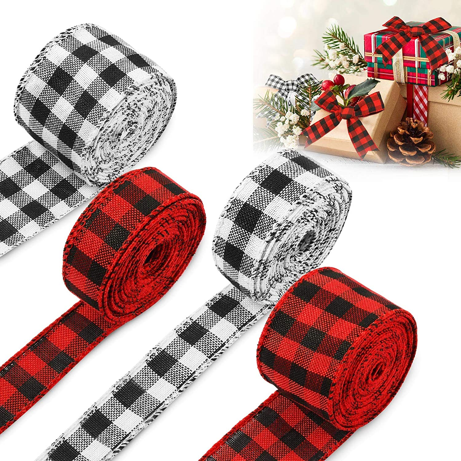 4 Rolls Christmas Checkered Wired Edge Ribbons Buffalo Plaid Ribbons Gingham Wrapping Ribbon for Christmas Crafts Wrap Decoration, Totally 26 Yards, Red and Black Plaid, White and Black Plaid