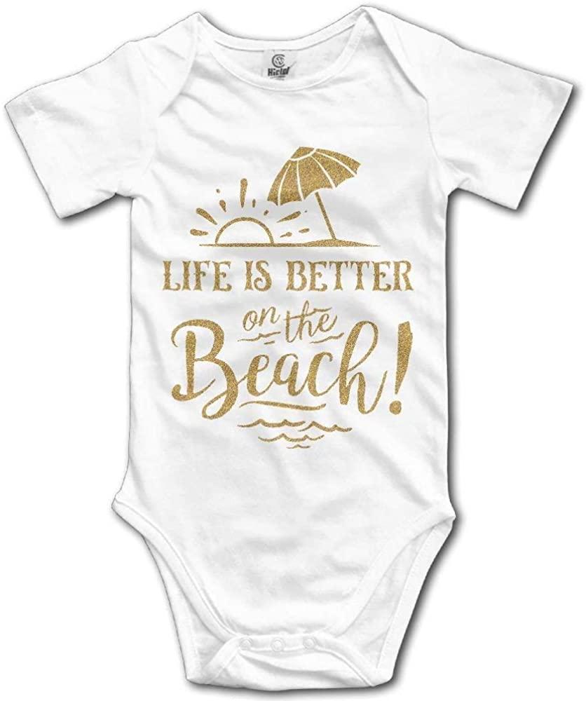 Life is Better On The Beach Newborn Infant Baby Short Sleeve Bodysuit Romper