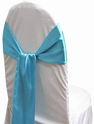 mds Pack of 200 Satin Chair Sashes Bow sash for Wedding and Events Supplies Party Decoration Chair Cover sash -Terquoise