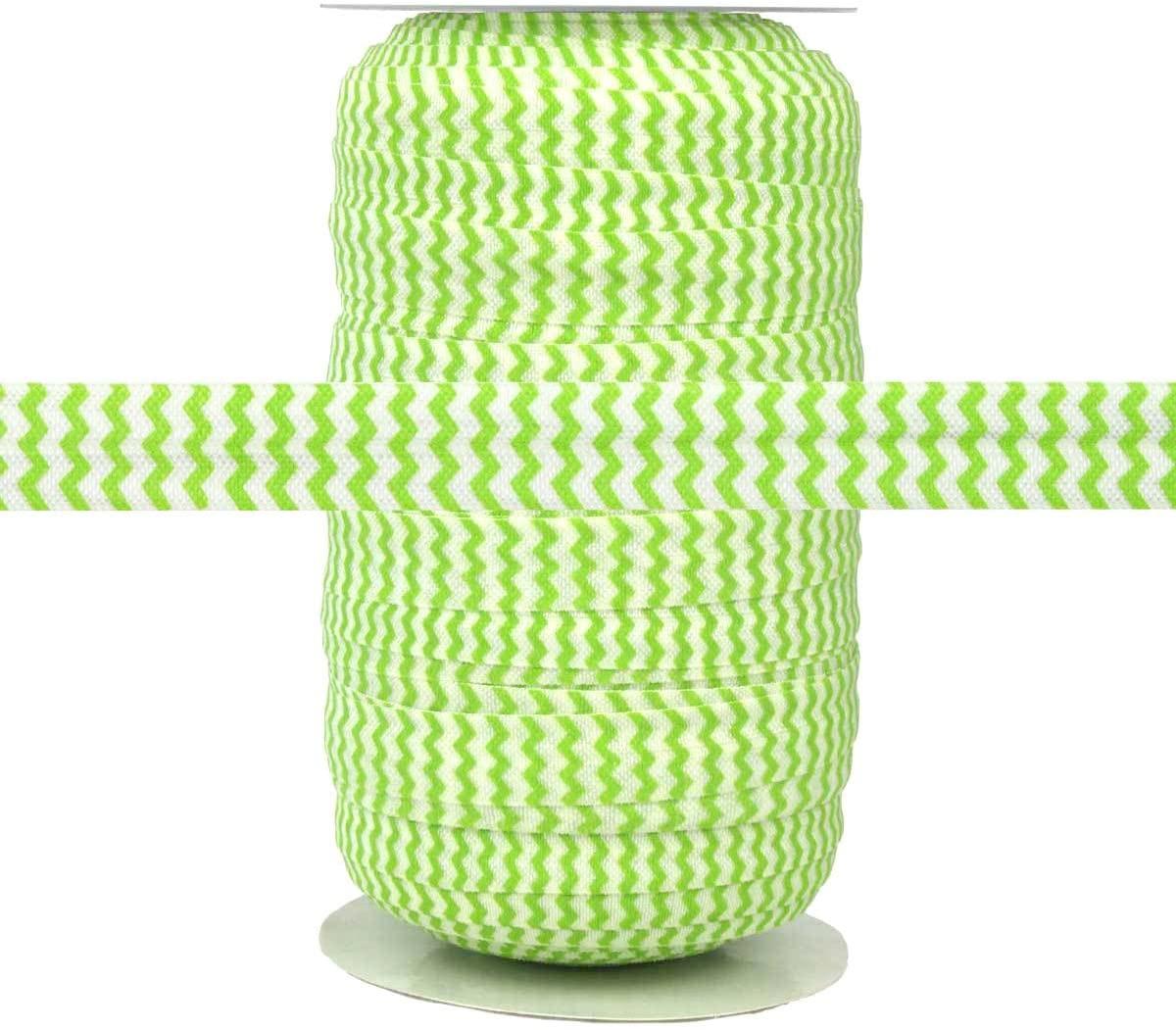 100 Yards - Lime Chevron on White - 5/8 Fold Over Elastic - ElasticByTheYard