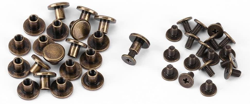Pack of 20 Sets Brass Flat Head Button Stud, Bronze Leathercraft Screws Nail Rivets, DIY Leather Craft Metal Rivet for Belt Strap Bag Shoes Decoration(6.5mm)