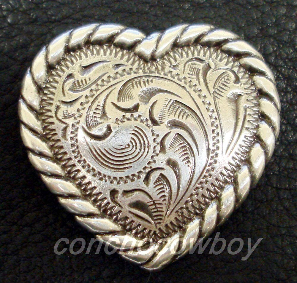 Conchos for Belt - Leather Fastener - Western Horse Headstall Saddle TACK Antique Rope Edge Heart Concho 1-1/2