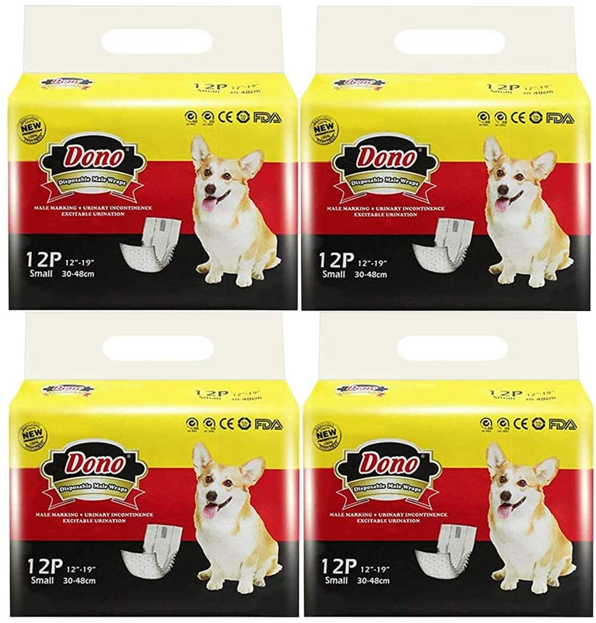Dono Disposable Dog Diapers Male Dog Wraps Super Absorbent Soft Pet Diapers, Including Four Sizes, Extra Small, Small, Medium, Large, Diapers Wetness Indicator