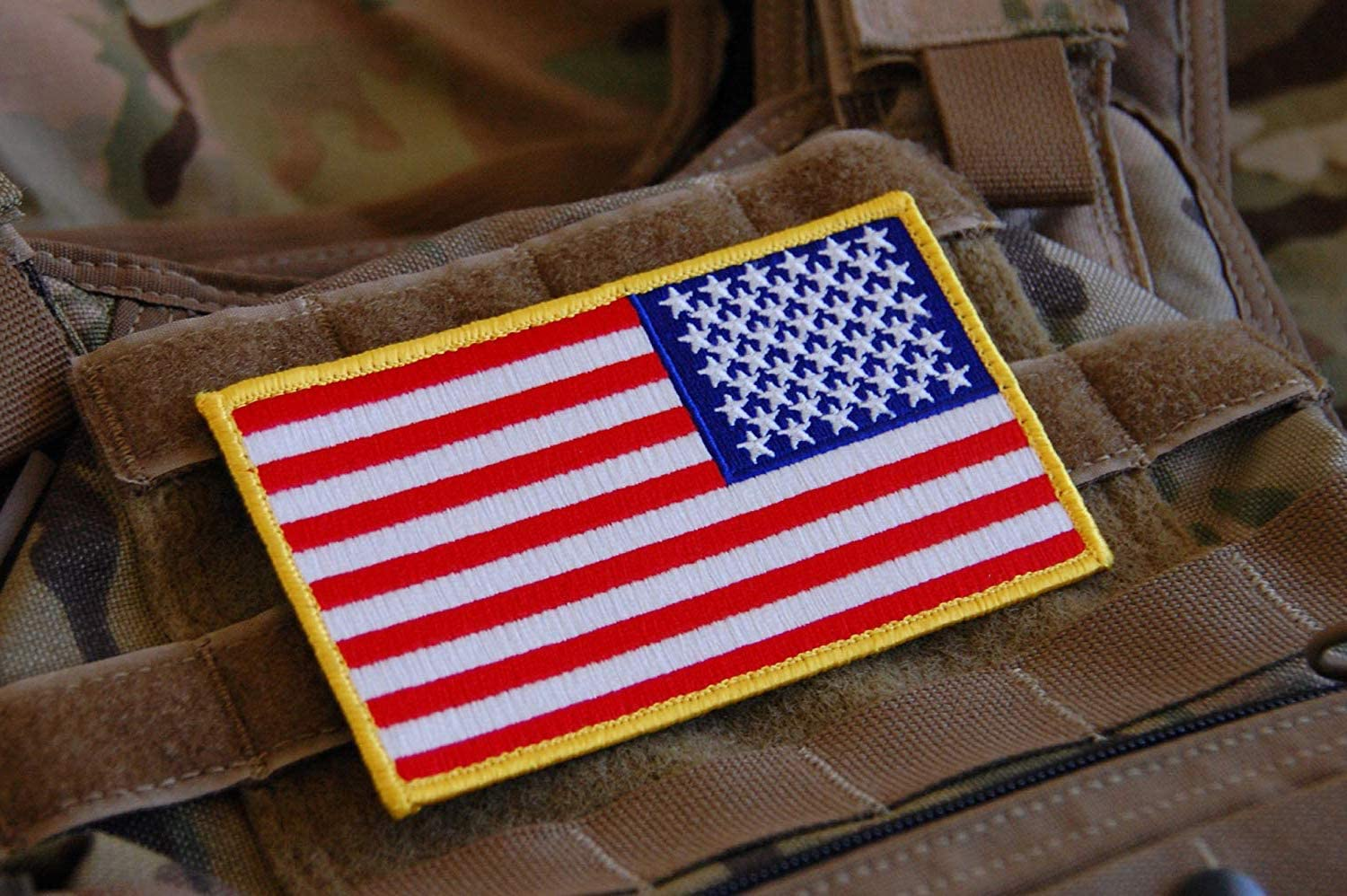 Reversed Large 3x5 Inch Color Tactical Us USA Flag (Hook/Loop) Patch